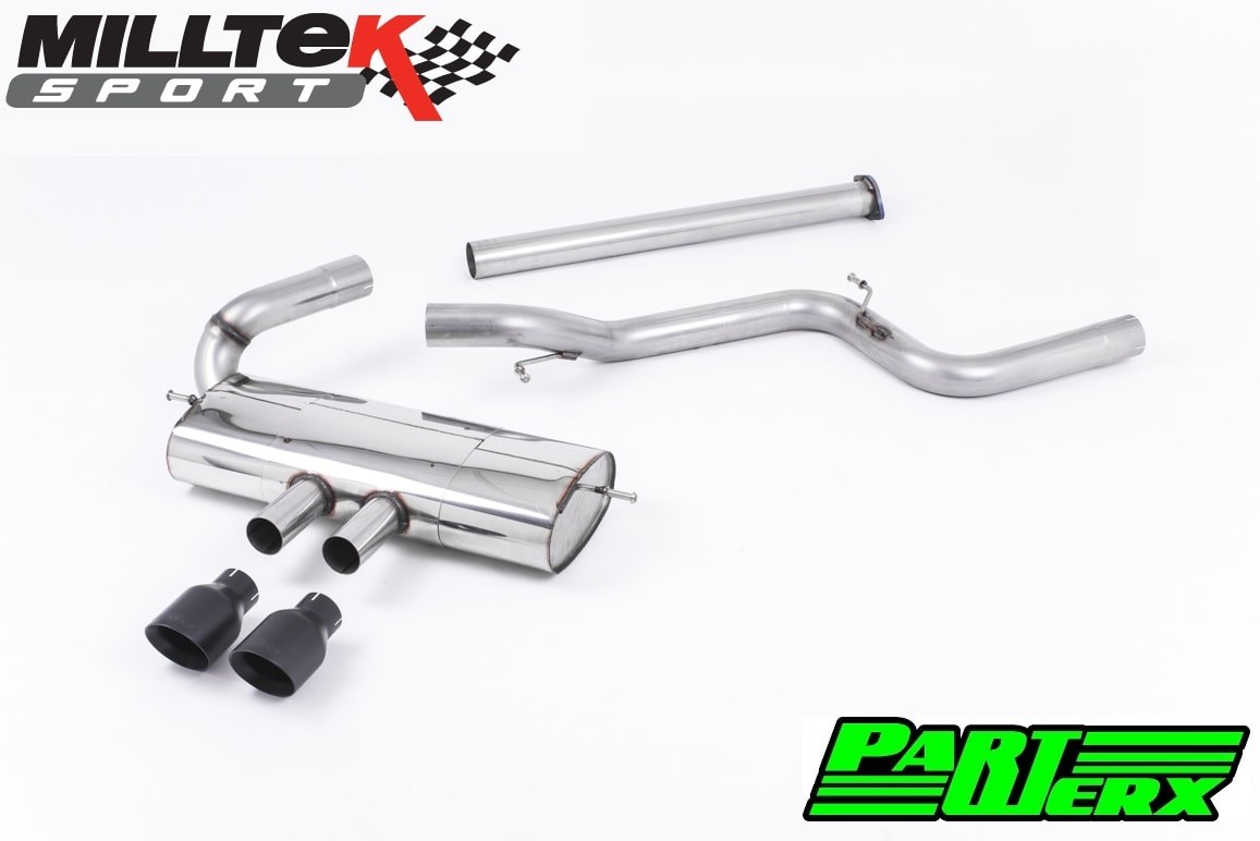 Ford Focus MK3 ST 250 Milltek Sport 3 Cat Back Exhaust System 2x Black GT100 Non Resonated SSXFD111