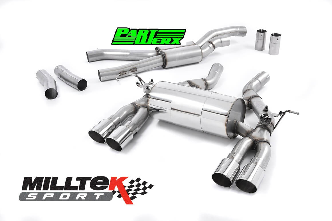 BMW M3 F80 MILLTEK Sport Cat Back Exhaust System 4x Polished GT90 Tips EC TUV SSXBM992