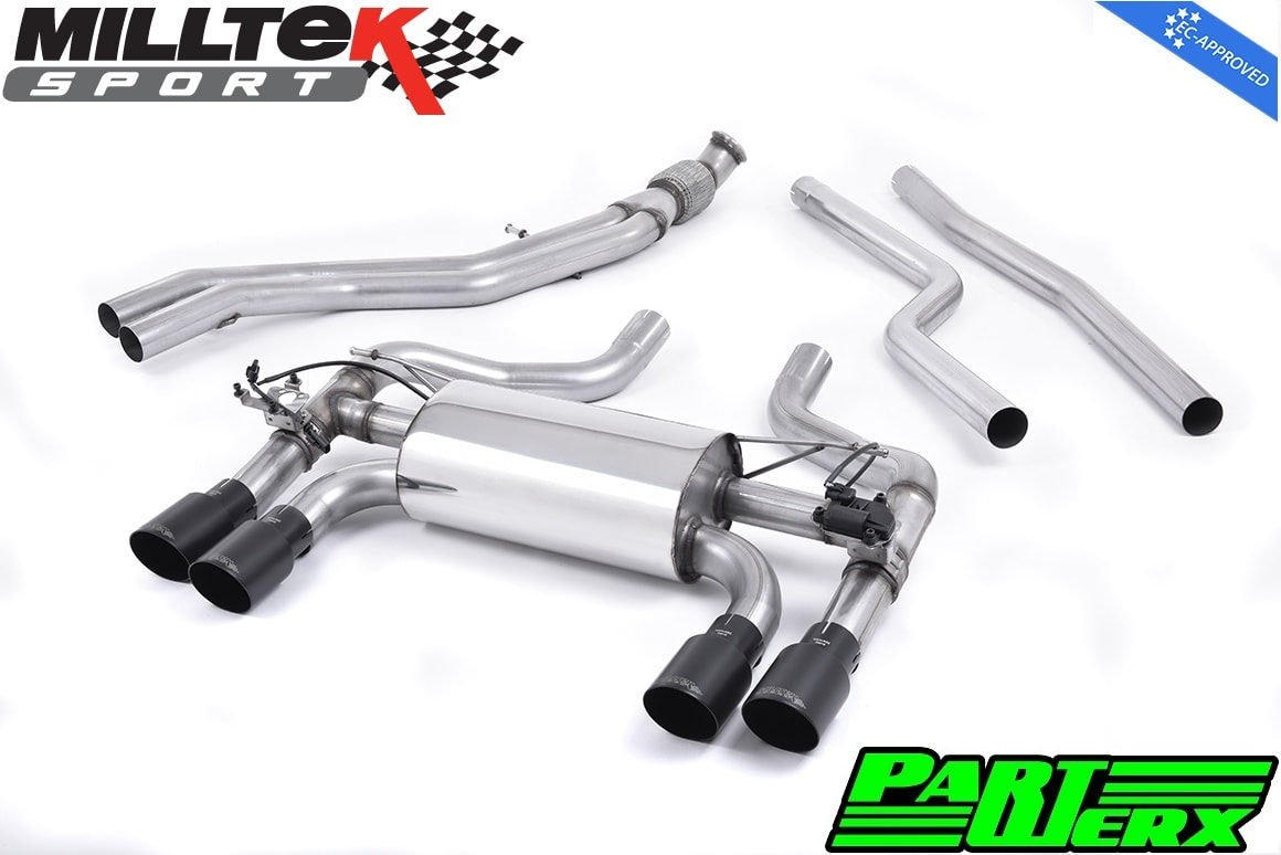 BMW 2 Series F87 M2 Coupe Milltek Sport Cat Back Exhaust System 4x Cerakote Black GT90 Tips EC Approved SSXBM1034