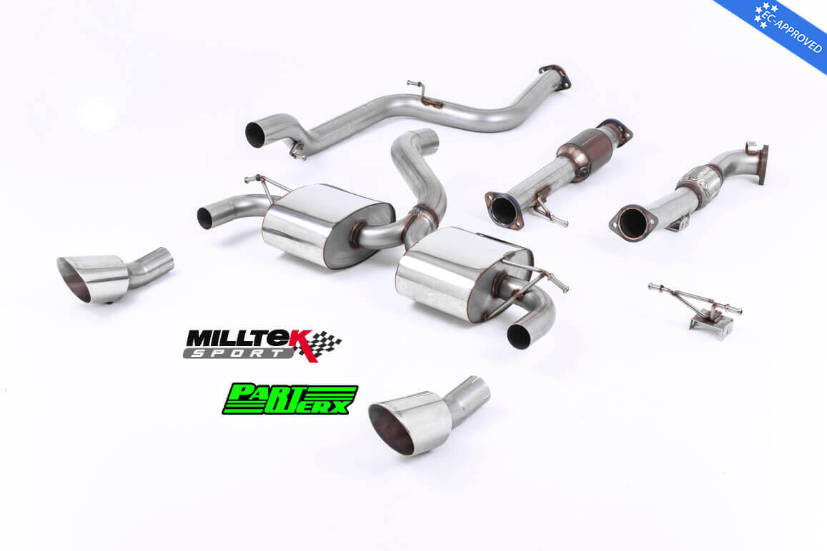 Ford Focus MK2 RS 305BHP MILLTEK Sport Turbo Back Exhaust System Dual DTM Tips Resonated EC Approved