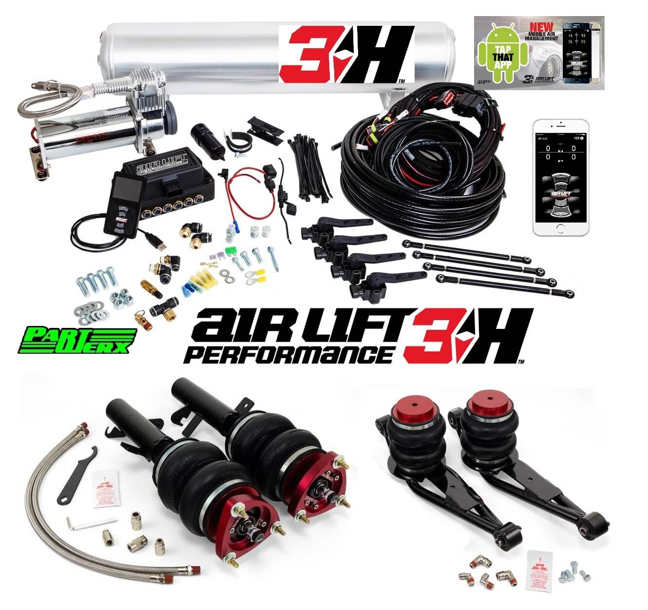 Ford Focus MK3 Air Lift 3H Management + Performance Air Ride Suspension Bags Kit Without Rear Shocks