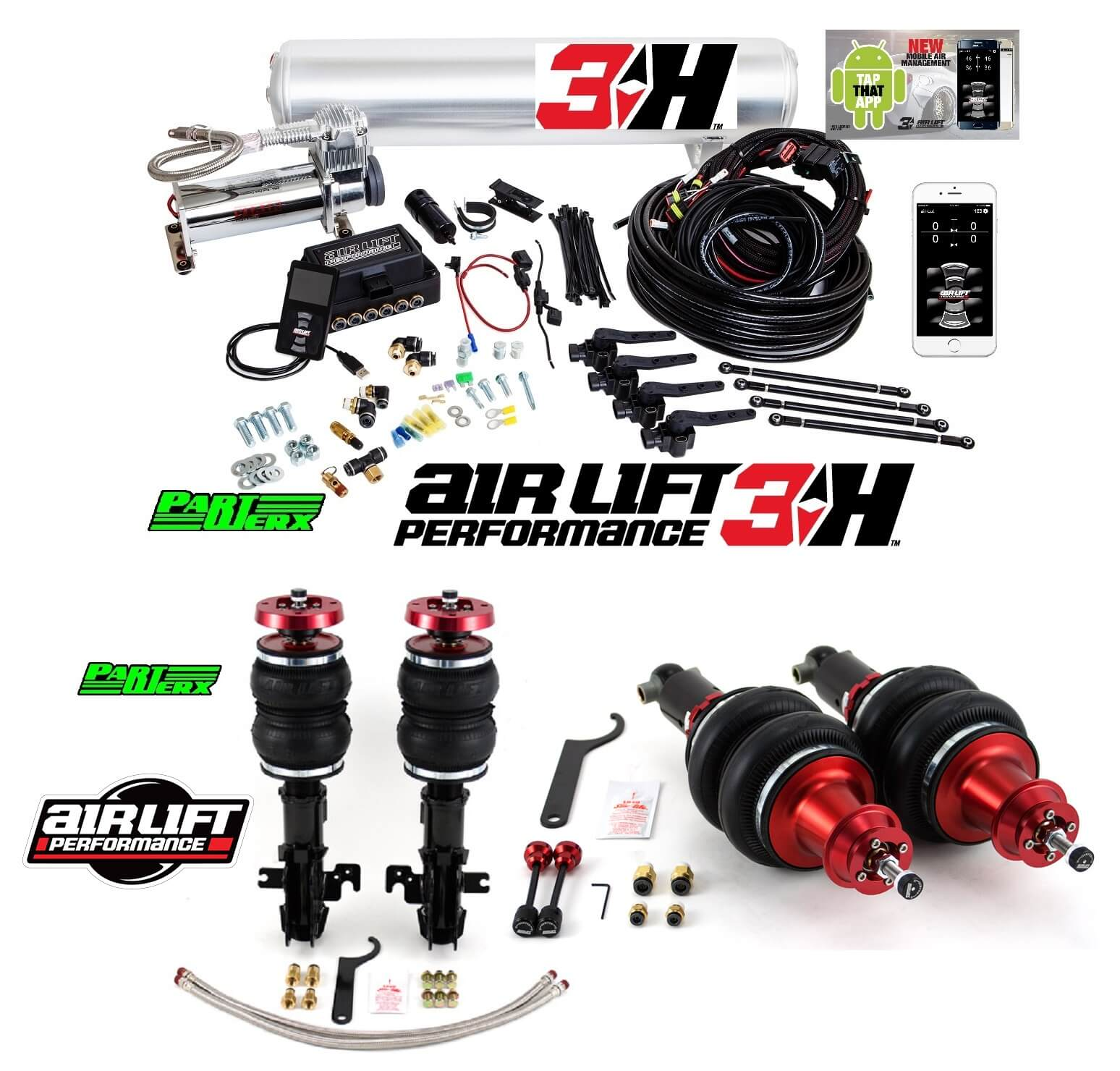 camaro 10-15 airlift front + rear struts + 3H 78501 78601 27692