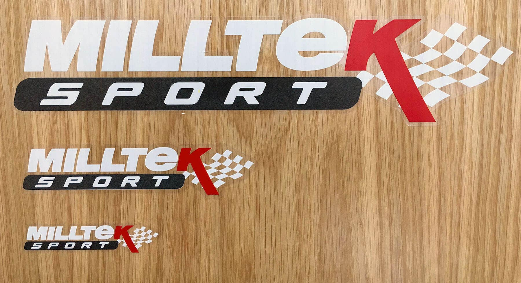 Milltek Sport Sticker Pack Full Sticker Pack Fan Owner Stickers Decals Emblems Logos 'White'