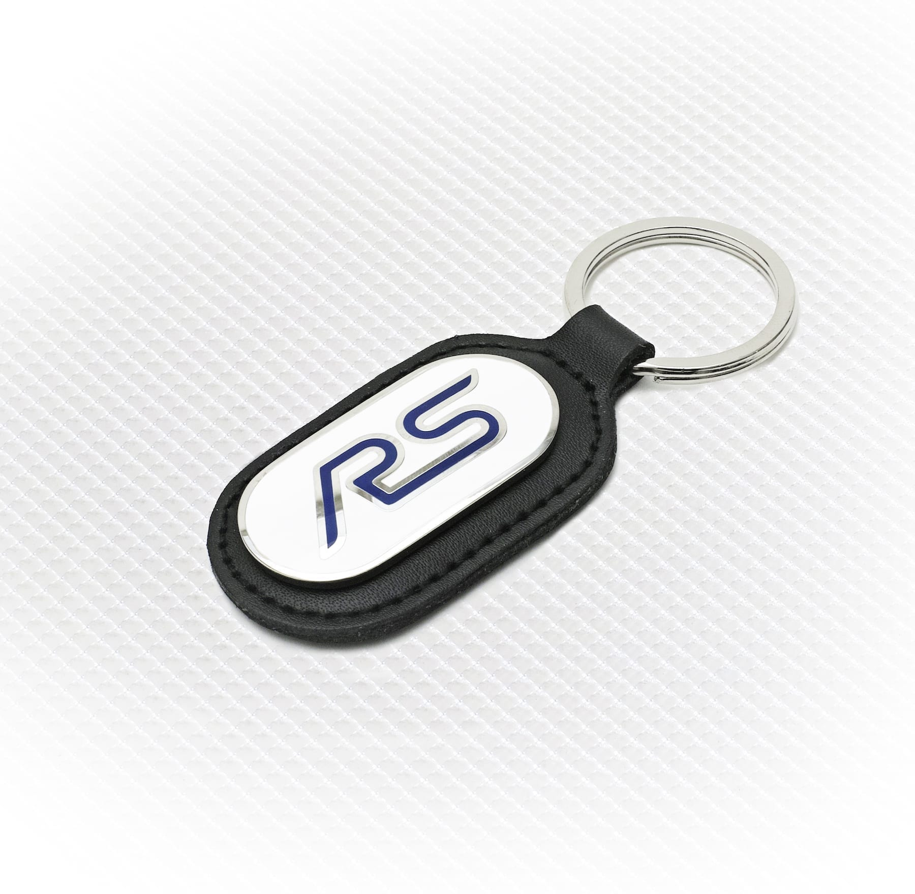Official Licensed Ford Merchandise RS Logo Key Ring - White