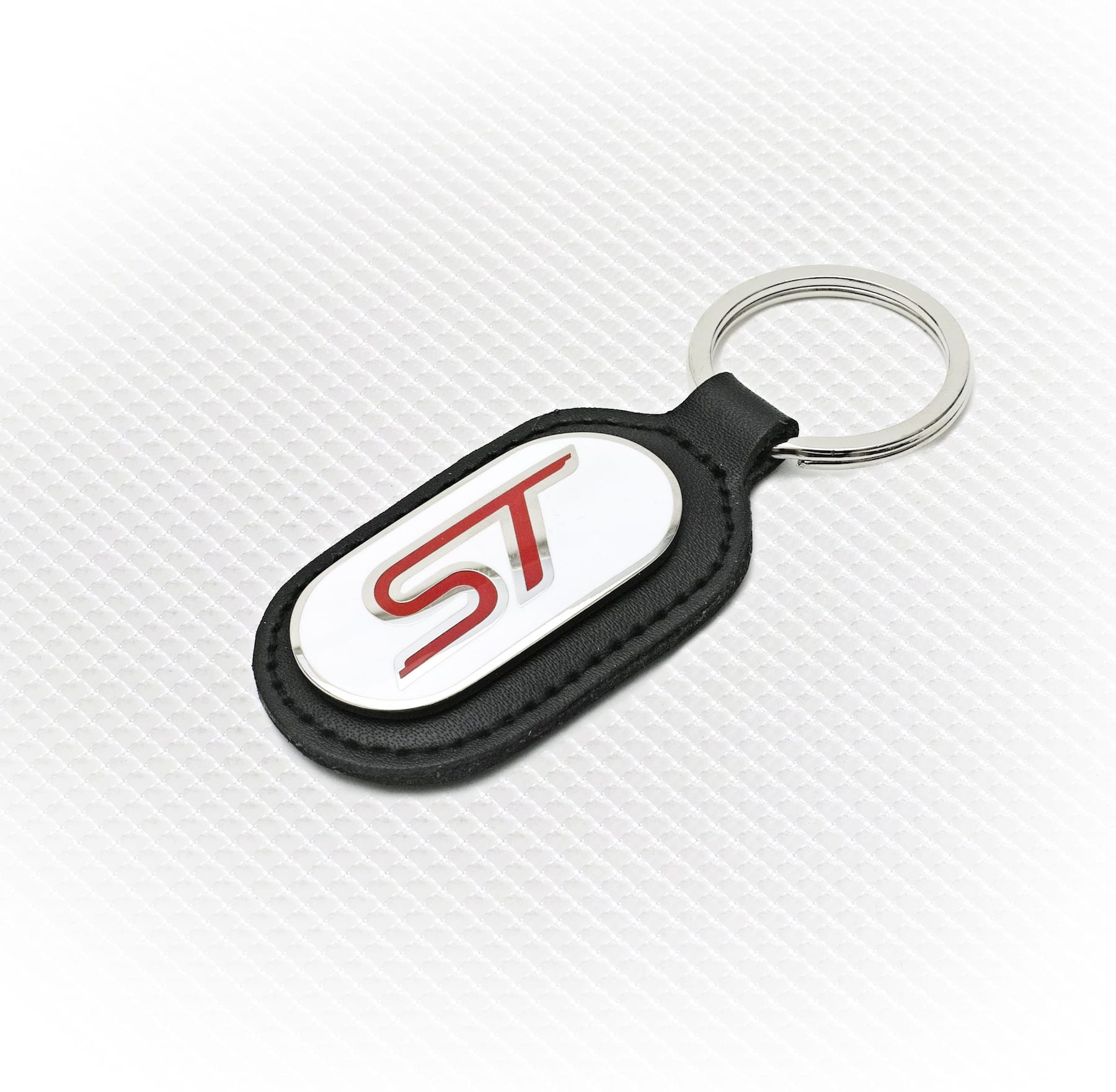Official Licensed Ford Merchandise ST Logo Key Ring - White