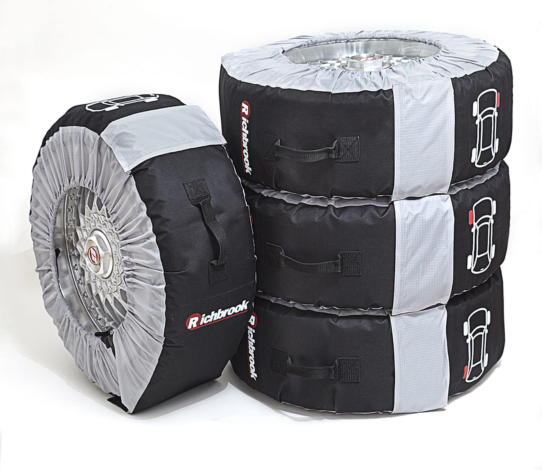 "Alloy Wheels Storage Bags Large Size fits 18"" to 22"" wheels - Set of 4 with zip-up case"