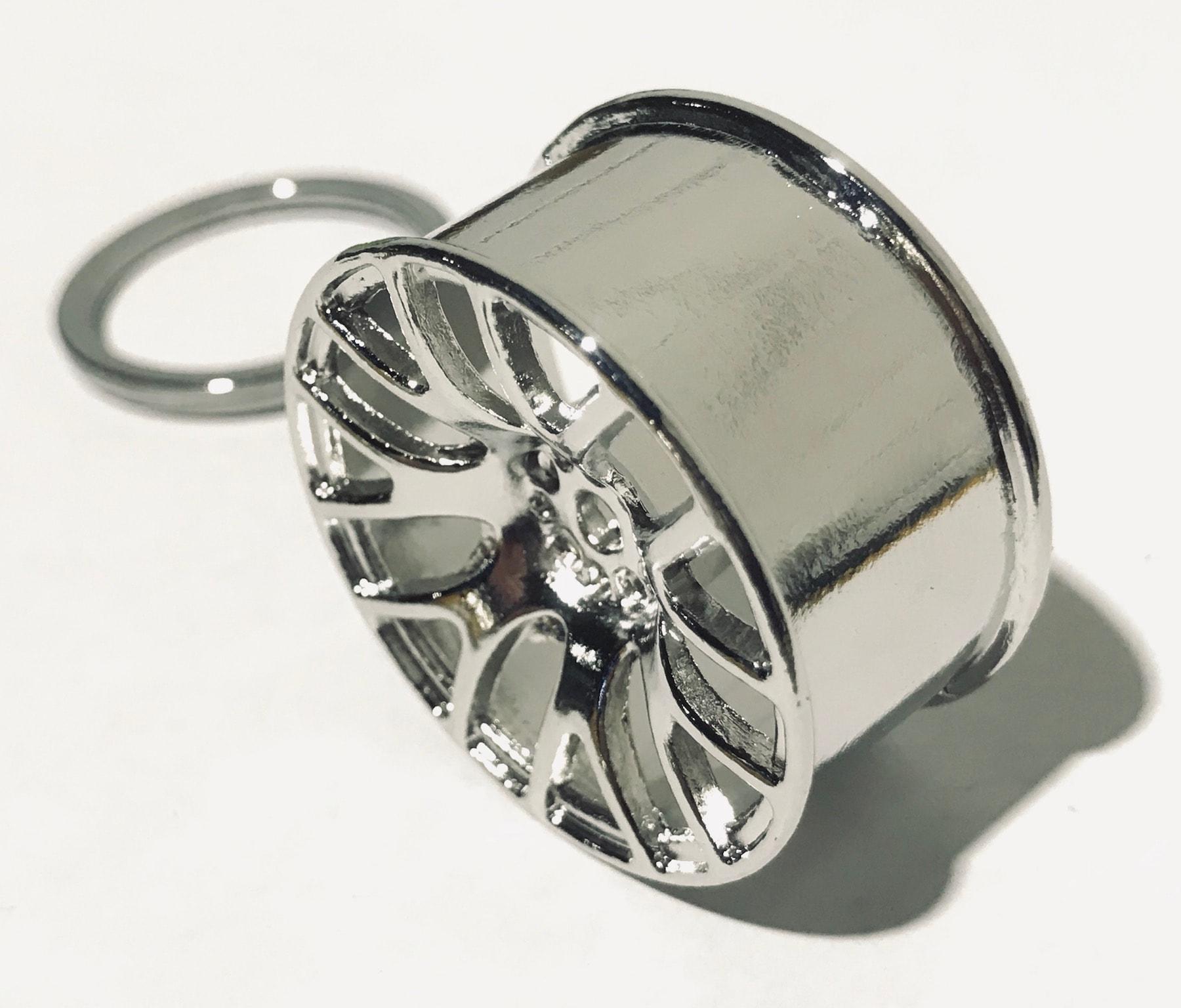 Car Alloy Wheel Chrome Silver Keyring Cool Key Fob Realistic Look & Feel Gift Birthday Xmas