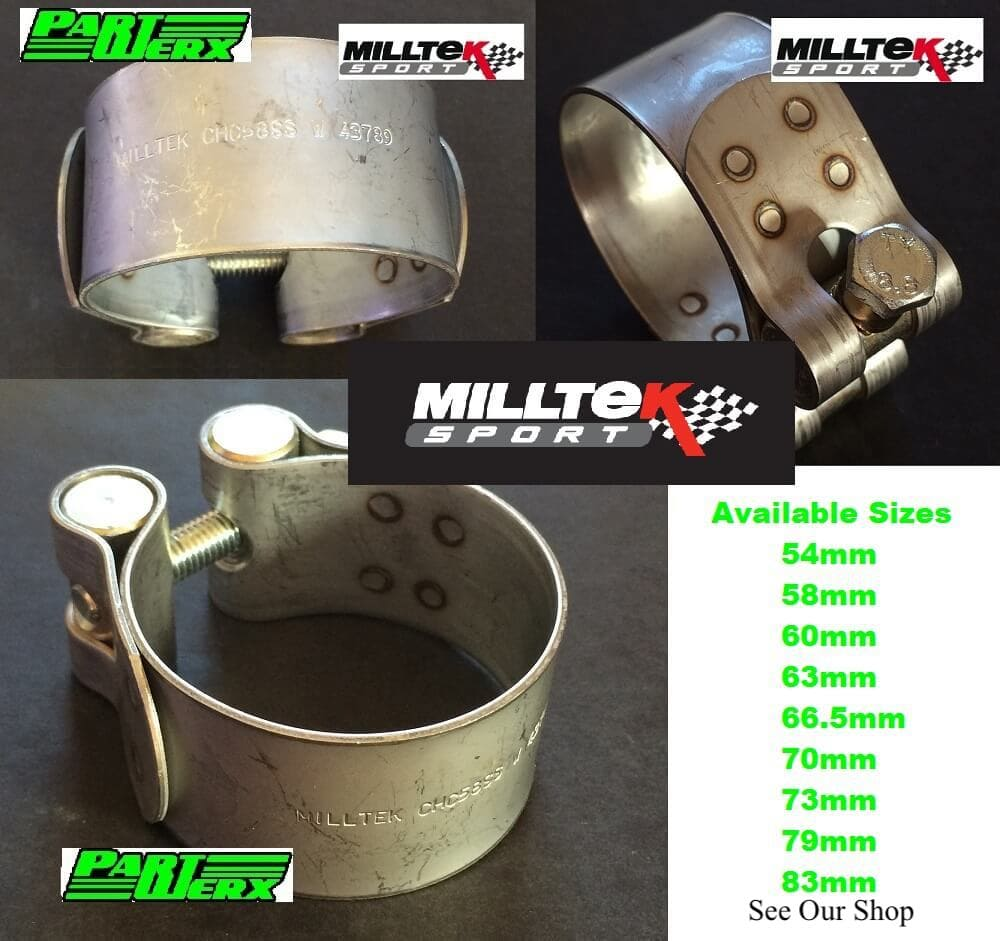 Milltek Sport Exhaust Clamp 54mm 58mm 60mm 63mm 66mm 70mm 73mm 70mm 79mm 83mm Stainless Steel Pipe Clip Securing Clamps