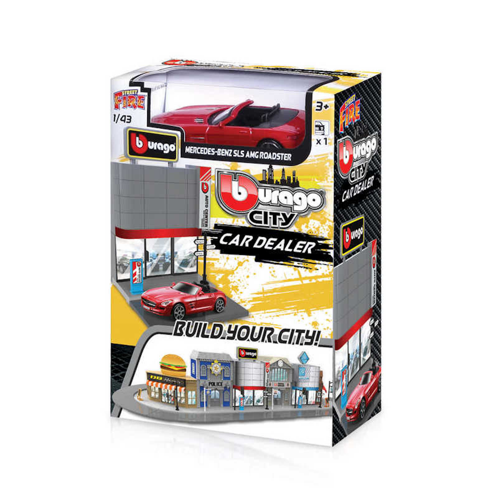 Build your City Car Dealer Mercedes Benz SLS AMG Bburago Street Fire 1:43 Scale Model Toy Childs Kids Dads Birthday Present Gift