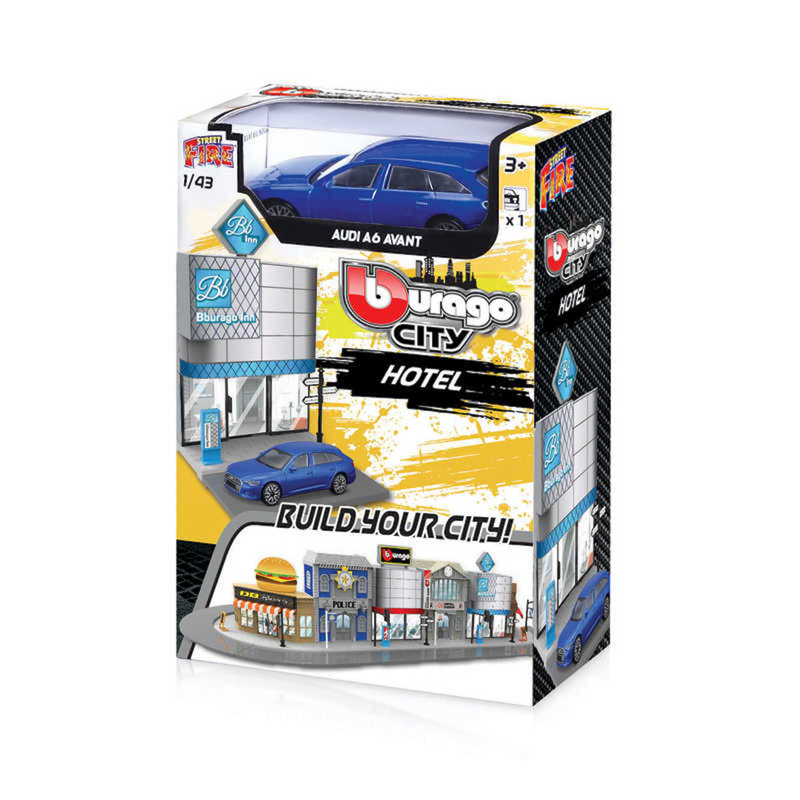 Build your City Hotel Audi A6 Avant Bburago Street Fire 1:43 Scale Model Toy Childs Kids Dads Birthday Present Gift
