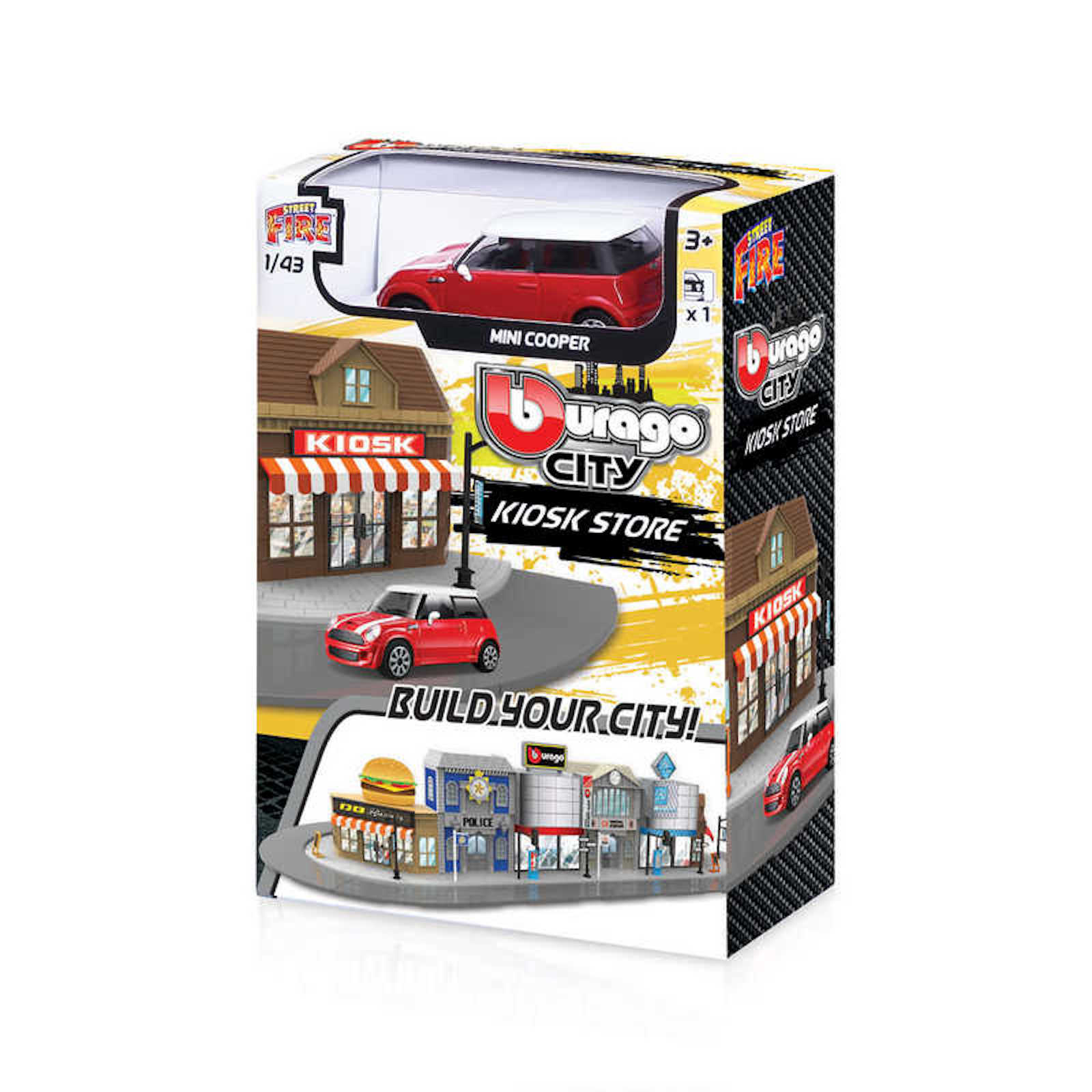 Build your City Kiosk Store Shop Mini Cooper Bburago Street Fire 1:43 Scale Model Toy Childs Kids Dads Birthday Present Gift