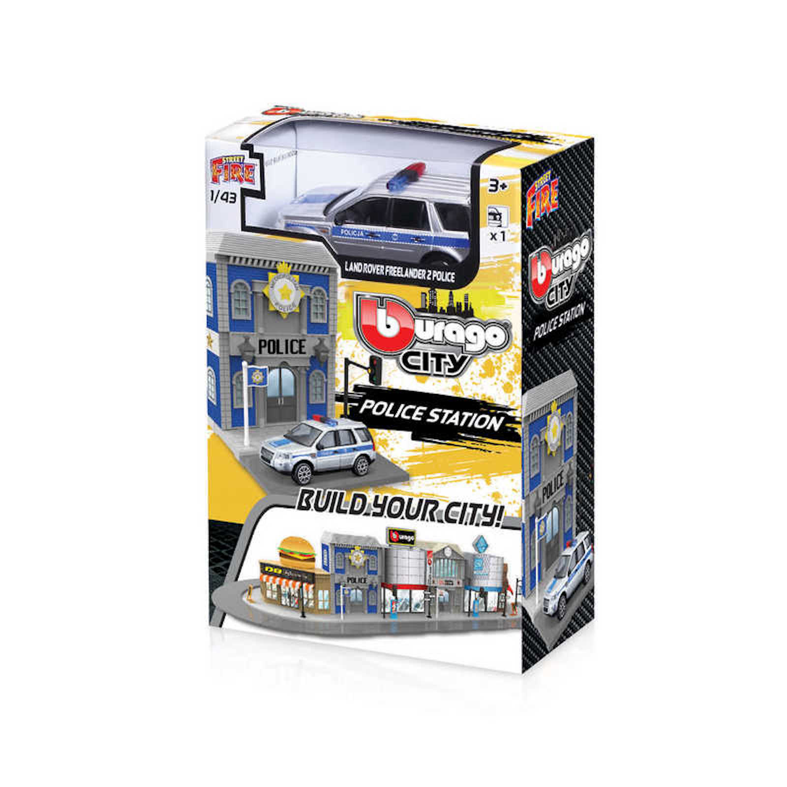 Build your City Police Station Land Rover Freelander Bburago Street Fire 1-43 Scale Model Toy Childs Kids Dads Birthday Present Gift