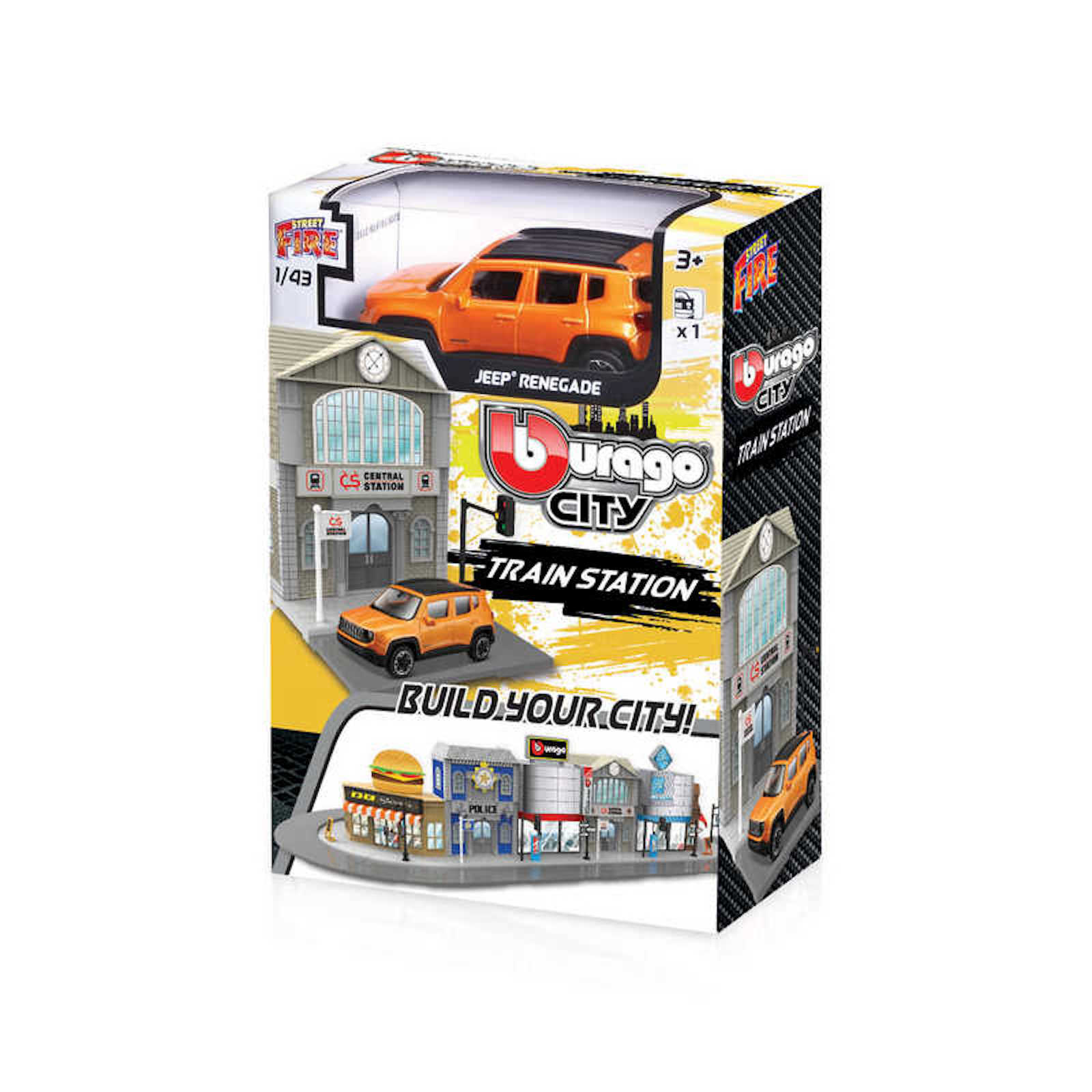 Build your City Train Station Jeep Renegade Bburago Street Fire 1:43 Scale Model Toy Childs Kids Dads Birthday Present Gift